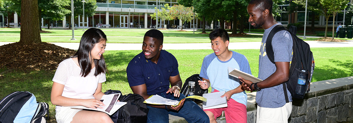 Students studying on quad