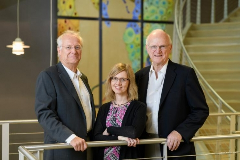 "<p>Andreas Bommarius, a professor in the School of Chemical and Biomolecular Engineering, Martha Grover, a professor in the School of Chemical and Biomolecular Engineering, and Ron Rousseau, a professor and Cecil J. ""Pete"" Silas Chair Emeritus in the School of Chemical and Biomolecular Engineering (Credit: Rob Felt)</p>"