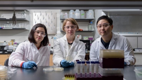 <p>Postdoctoral Fellow Yeongseon Jang, Associate Professor Julie Champion and Postdoctoral Fellow Won Tae Choi are shown in Champion's laboratory at Georgia Tech. With Professor Dennis Hess (not shown), the researchers developed a new nanotextured surface for stainless steel that kills common bacteria.</p>
