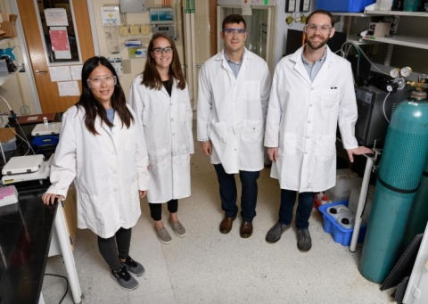 <p>Georgia Tech researchers have recently confirmed photo-induced interaction between a titania surface and nitrogen. Shown (l-r) are graduate research assistant Yu-Hsuan Liu, assistant professor Marta Hatzell, assistant professor Andrew Medford and graduate research assistant Benjamin Comer. (Credit: Rob Felt, Georgia Tech)</p>
