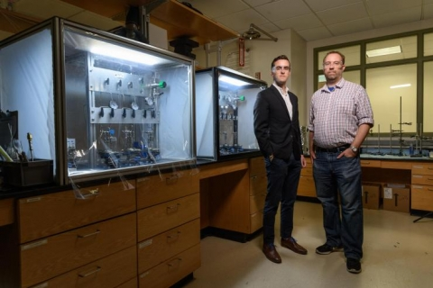 <p>Ryan Lively, an associate professor in Georgia Tech's School of Chemical &amp; Biomolecular Engineering and Mark Losego, an assistant professor in the School of Materials Science and Engineering. (Credit: Rob Felt)</p>