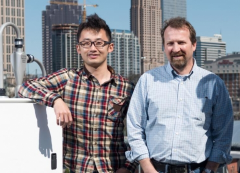 <p>Hongyu Guo, Georgia Tech grad student and Rodney Weber, a professor in Georgia Tech's School of Earth & Atmospheric Sciences</p>